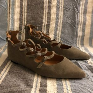 Halogen gray suede leather flats